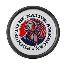 Proud Native American Large Wall Clock