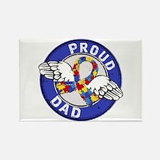 Proud Dad 3 Blue Autism Rectangle Magnet