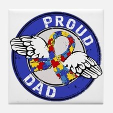 Proud Dad 3 Blue Autism Tile Coaster