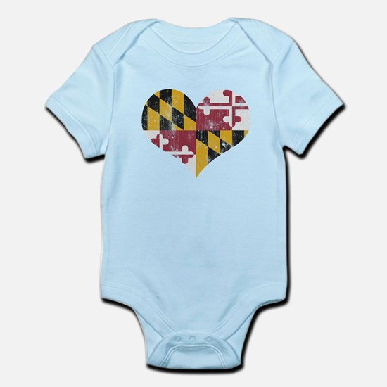 Vintage State of Maryland Flag Heart Body Suit