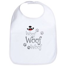 Woof Woof dogs doggy bark with doggy paws Bib