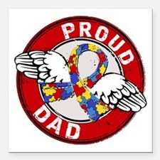 "Proud Dad 3 Red Autism Square Car Magnet 3"" x 3"""