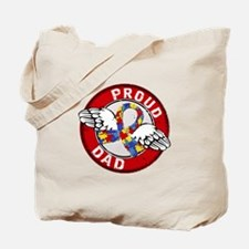 Proud Dad 3 Red Autism Tote Bag