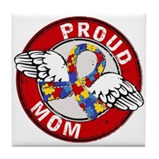 Proud Mom 3 Red Autism Tile Coaster