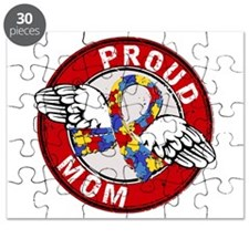 Proud Mom 3 Red Autism Puzzle