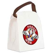 Proud Mom 3 Red Autism Canvas Lunch Bag