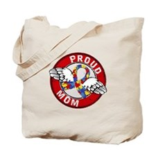 Proud Mom 3 Red Autism Tote Bag