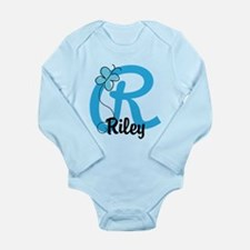 Personalized Initial R Long Sleeve Infant Bodysuit
