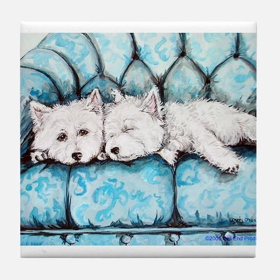 Westie Couch Potatoes Tile Coaster