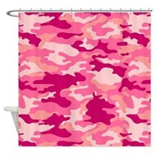 Pink Camo Pattern Shower Curtain