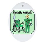 Nurse Multitask Oval Ornament