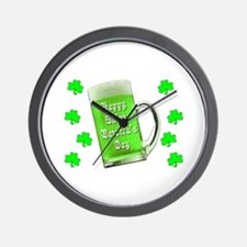 Shamrocks & Green Ale St. Patrick's Day Wall Clock