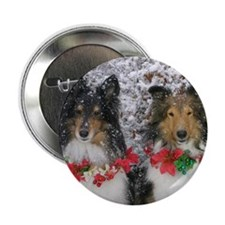 """Shetland Sheepdogs in the Snow Christ 2.25"""" Button"""