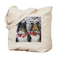 Shetland Sheepdogs in the Snow Christmas Tote Bag