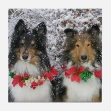 Shetland Sheepdogs in the Snow Christ Tile Coaster