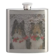 Shetland Sheepdogs in the Snow Christmas Flask