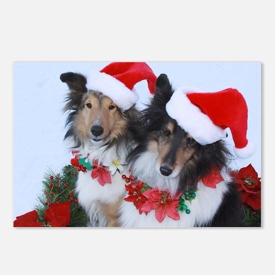 Christmas Santa Shelties Postcards (Package of 8)