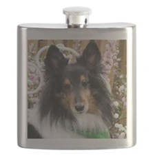 Tricolor Shetland Sheepdog Flask