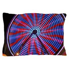 Ferris Wheel Nightshot Red Pillow Case
