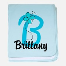 Personalized Initial B Monogram baby blanket