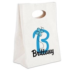 Personalized Initial B Monogram Canvas Lunch Tote