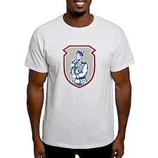 Scotsman Bagpiper Playing Bagpipes Shield T-Shirt