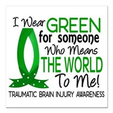 """Means World to Me 1 TBI Square Car Magnet 3"""" x 3"""""""
