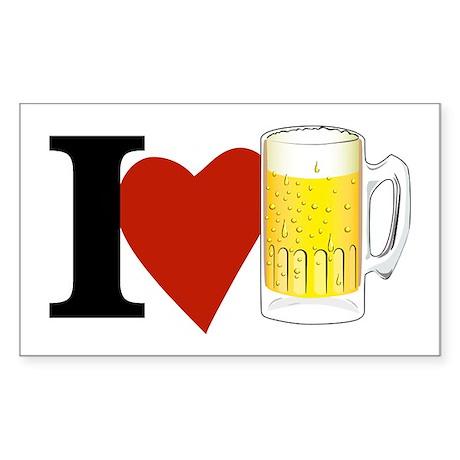 I Love Beer Rectangle Sticker