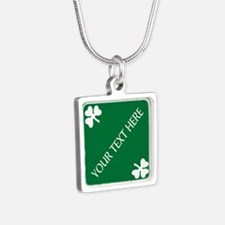 St Patricks Day Border CUS Silver Square Necklace