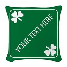 St Patricks Day Border CUSTOM Woven Throw Pillow