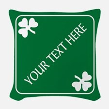 St Patricks Day Border CUSTOM Woven Throw Pillow