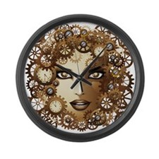 Steampunk Girl Portrait Large Wall Clock
