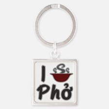 I Eat Pho Square Keychain