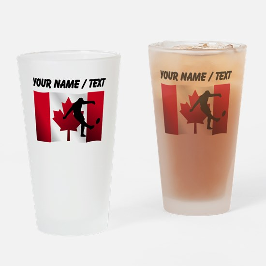 Custom Rugby Kick Canadian Flag Drinking Glass