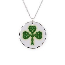 Celtic Knot Clover Necklace Circle Charm