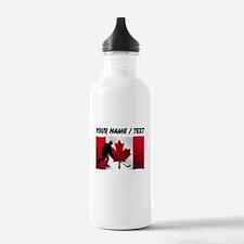 Custom Hockey Canadian Flag Sports Water Bottle