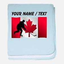 Custom Hockey Canadian Flag baby blanket