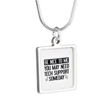 Be Nice To Me Silver Square Necklace