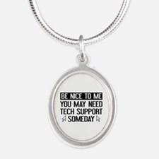 Be Nice To Me Silver Oval Necklace