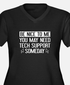 Be Nice To Me Women's Plus Size V-Neck Dark T-Shir