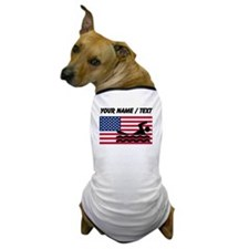 Custom Swimming American Flag Dog T-Shirt
