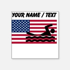 Custom Swimming American Flag Sticker