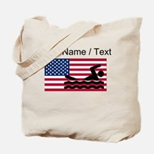 Custom Swimming American Flag Tote Bag