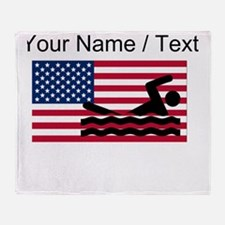 Custom Swimming American Flag Throw Blanket