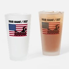 Custom Swimming American Flag Drinking Glass