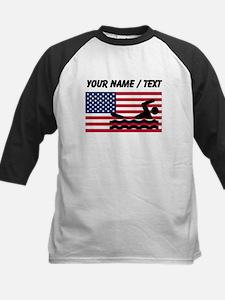 Custom Swimming American Flag Baseball Jersey