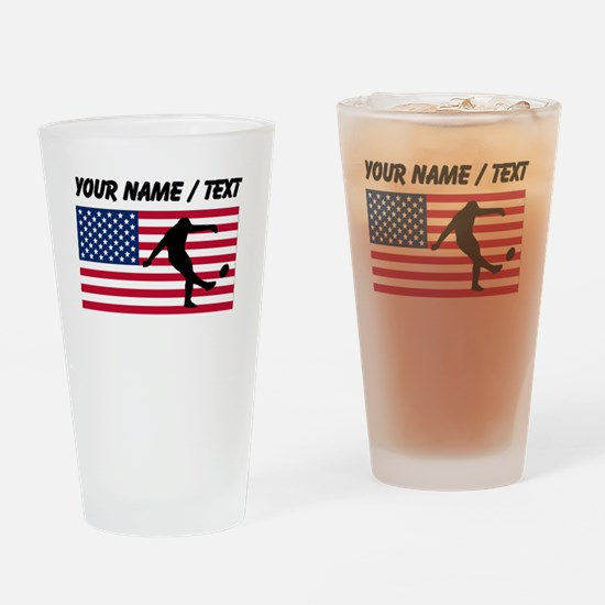 Custom Rugby Kick American Flag Drinking Glass