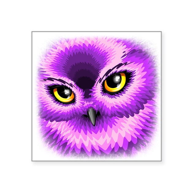 Pink Owl Eyes Sticker By Bluedarkartgifts