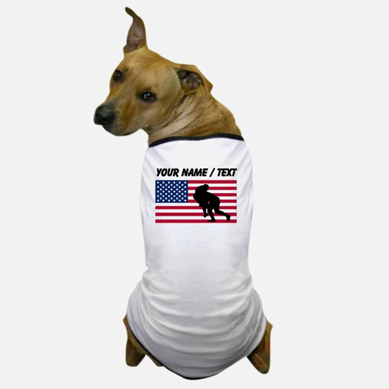 Custom Rugby Tackle American Flag Dog T-Shirt