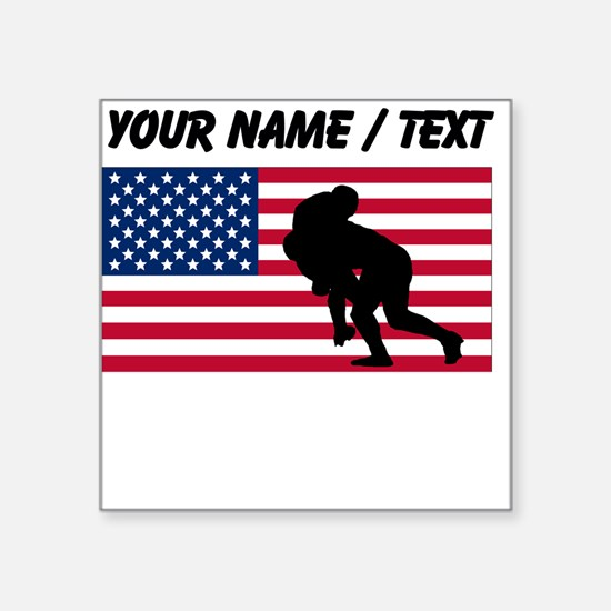 Custom Rugby Tackle American Flag Sticker
